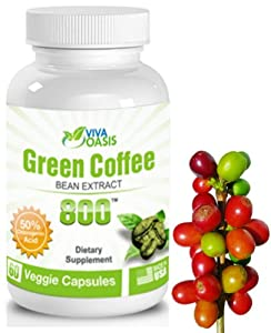 Viva Oasis Pure Green Coffee Bean Extract 800mg *60 count* with 50% GCA Chlorogenic Acid. A Weight Loss Appetite Control Extract Supplement Diet Pill Backed up By Clinical Results. Dr Oz Diet Pills
