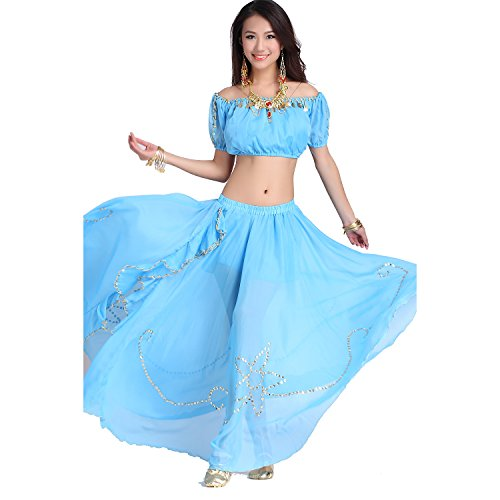 Belly Dance Costume Set Tops With Cions& Shiny Edge Side Slit Skirt light blue (Sexy Belly Dance Costumes)