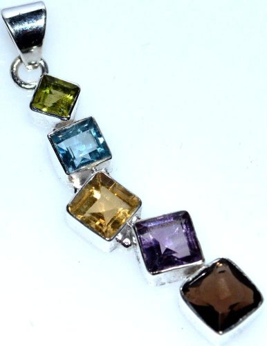 Sterling 925 Silver Chakra Pendant, Unique Multi Gemstone Jewellery
