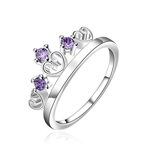 HMILYDYK Elegant Jewelry Romantic Purple Crystal Princess Crown Rings 925 Sterling Silver Plate Ring