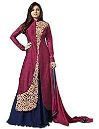 Aryan Fashons Maroon & Blue Long Strait Suit For Girls TOP-SEMI-STITCHED , BOTTOM-UNSTITCHED