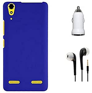 Tidel Stylish Rubberized Plastic Back Cover For Lenovo A6000 Plus ( Blue ) With 3.5mm Handsfree Earphone & Car Charger Adapter