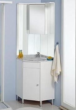 Mobile Arredo Bagno ad angolo 57x57 con piedini e lavabo sottopiano in 20 colori Mobili
