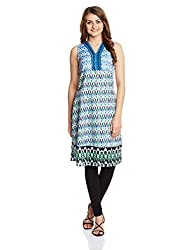 Rain and Rainbow Women's Kurta (4008-15/18-4_GREEN_Small)