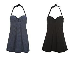 Ladies OP 50's Style Halterneck Skirtini Swimsuit - Black - Size 22