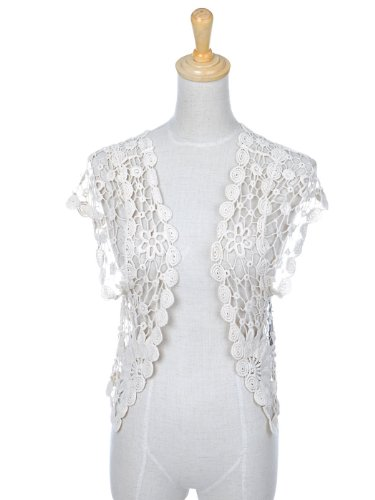 Anna-Kaci S/M Fit Off-White Floral Sunflower Knitted Crochet Open Cardigan Shrug