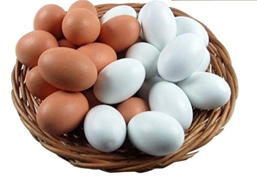 Easter Eggs Wooden Fake Eggs 9 Pieces 2 Colors (Wood Chicken Eggs compare prices)