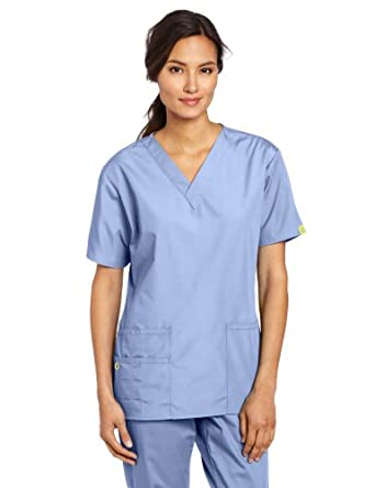 WonderWink Women's Scrubs Bravo 5 Pocket V-Neck Top, Ceil Blue, XX-Small