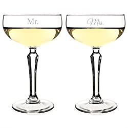 Cathys Concepts Mr. and Mrs. Champagne Coupe Toasting Flutes, Clear, Set of 2