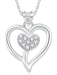 VK Jewels Double Heart Valentine Rhodium Plated Alloy Pendant With Chain For Women & Girls Made With Cubic Zirconia...