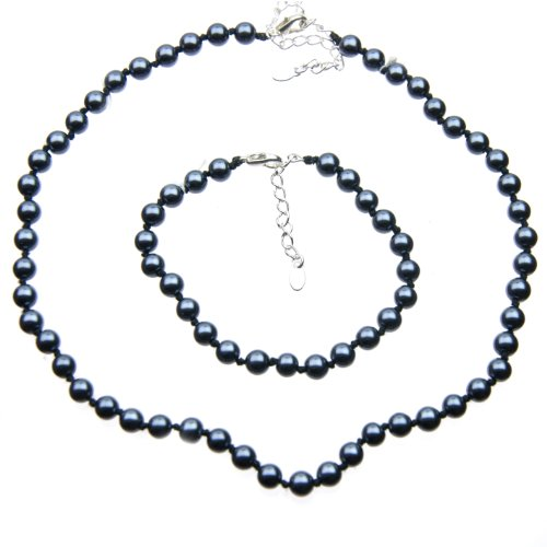 Black Shell Pearl Necklace and Bracelet Set