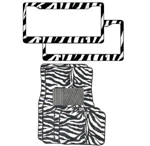 6-Piece Animal Print Automotive Interior Gift Set - A Set of 4 Universal Fit Zebra Black and White Carpet Floor Mats for Cars / Truck and 2 Zebra Black and White Plastic License Plate Frame