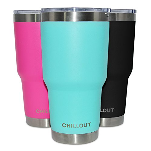 Stainless Steel Tumbler 30 oz with 100% No Leak Spill Proof Lid - Premium Quality Double Wall Vacuum Insulated Large Travel Coffee Mug for Hot & Cold Drinks - Powder Coated Tumbler, Aqua Blue Tumbler