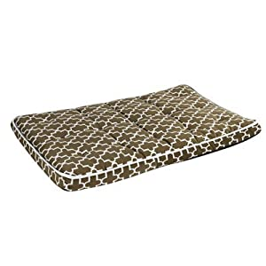 Diamond Microvelvet Luxury Crate Pet Mattress - Pecan Filigree (Extra Large) from Bowsers