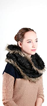 BERLIN FAUX FUR TRIM SNOOD-BKMARL