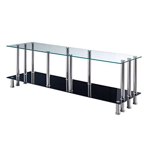 Global Furniture TV Stand, Clear/Black