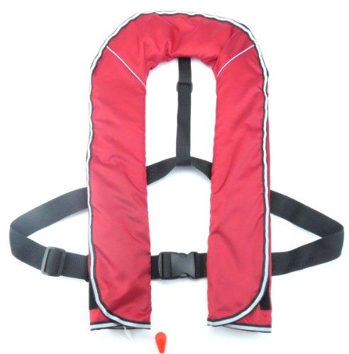YSHG ライフジャケット 自動膨張式 ベスト型 150kg対応 命を守る 救命胴衣 (レッド)