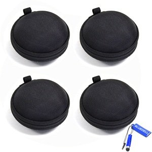 Bluecell 4 Pcs Of Black Earphone In-Ear Hard Case/Bag For Jawbone Era Icon Hd & Icon Jvc Panasonic Coby Bose Sony Sennheiser