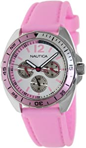 Nautica Women's Sport Ring A09914G Pink Silicone Quartz Watch with Silver Dial