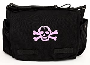 Heavyweight Messenger Diaper Bag in Black with Pink Skull from Crazy Baby Clothing