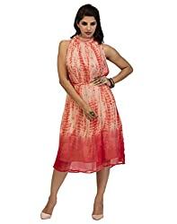 Surat Tex Peach Color Printed Georgette Stitched Dress-I226DS119XL