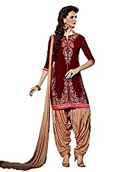 Sanchey Women's Georgette Unstitched Dress Material (754610_Maroon_Free Size)