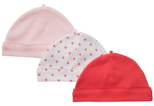 Carter's Baby Girls' 3-Pack Cap - Pink Poppy - 0-3 Months