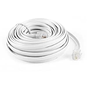 Uxcell a13112800ux0297 RJ11 6P2C Modular Phone Cables and Wire, 9M 30 Foot for Landline Telephone, White