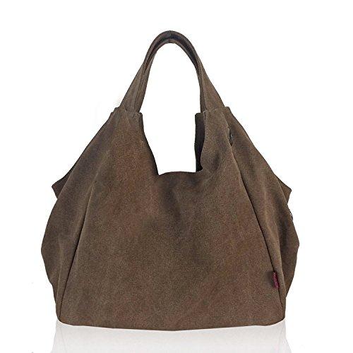 Womens Pure Color Hobo Canvas Handbag Shoulder Bag ...