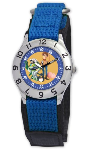 Disney Kids' D014S501 Toy Story Time Teacher Blue Velcro Watch