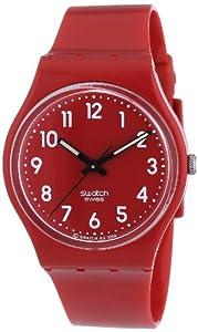 Swatch Women's GR154 Quartz Red Dial Plastic Watch