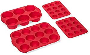 Elite BakewareTM 4 Piece Nonstick Silicone Muffin Pan And Cupcake Pans Set - Includes Regular, Jumbo and Mini Size Cupcake Baking Pans - Muffins & Cupcakes Bakeware Set - Premium Non Stick Cake Pans