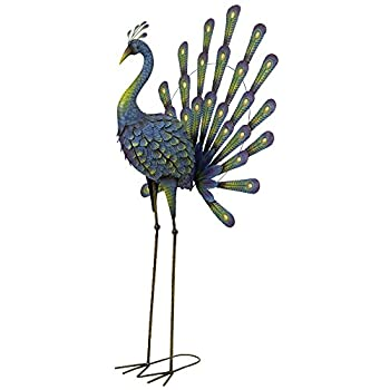 Bits and Pieces - Peacock Metal Garden Sculpture - Metal Peacock is Perfect for Garden Décor - Metal Garden Art, Outdoor Lawn and Patio Décor, Backyard Sculpture, and Decoration