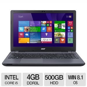 Acer Aspire E5-571-5552 16-дюймовый ноутбук (1.70ГГц Intel Core i5 4210U 4GB DDR3L памяти 500GB HDD Intel HD Graphics 4400 Windows 8.1)