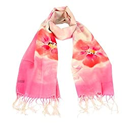 Olina Women's High-Grade Elegant Hand Painted 100% Pure Wool Scarf Shawl (Pink Peach)