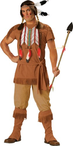 InCharacter Costumes, LLC Men's Indian Brave Costume with Fringe Detail, Brown, Large