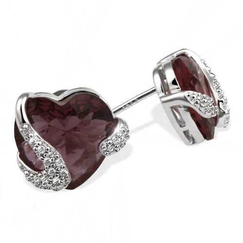 Goldmaid Ladies' Earring Studs 925 Sterling Silver 1 Tourmaline-Coloured Stone 40 White Cubic Zirconia Heart Fa O4306S