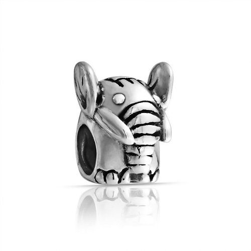 Bling Jewelry 925 Sterling Elephant Animal Bead Charm Pandora Compatible