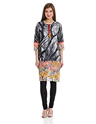 Gili Women's A Line Kurta (GAKUR2131_Black_Medium)