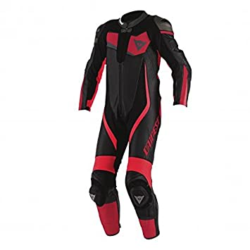 Dainese 1513437_184_44 Veloster Perforated Suit 1 Pièce, Noir/Rouge/Rouge, 44 cm