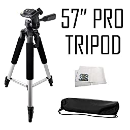 Professional 57-inch Tripod 3-way Panhead Tilt Motion with Built In Bubble Leveling for Sony E-MOUNT Alpha 7, a7, Alpha 7R, a7R, a7s, a6000, a5100, a5000, a3000, NEX-3, NEX-3N, NEX-5, NEX-5N, NEX-5R, NEX-5T, NEX-6, NEX-7, NEX-C3 & NEX-F3 Digital Cameras