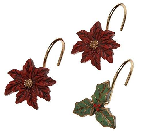Lulu Home Fashions in ceramica, con stella di Natale in resina ganci per tenda, confezione da 12 pezzi