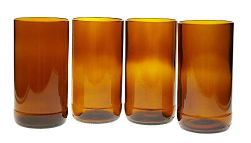 4 Pack Tumbler Glasses (16 Oz) Amber