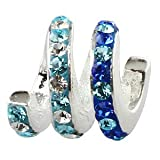 Blue - Crystal Spiral - Sterling Silver Charm Bead - fits Pandora, Chamilia etc style Bracelets - SpangleBead