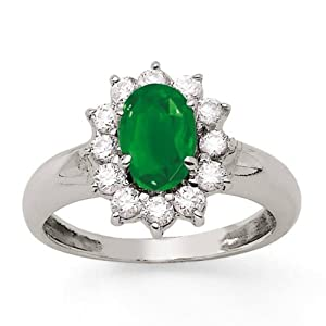 Bague Emeraude - Or 750 Millièmes (18 Carats): 5.20 Gr - Diamant: 0.72 Carat qualité HSI - Emeraude: 1.05 Carats