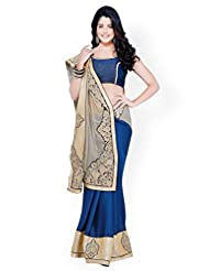 Chirag Sarees Crepe Saree In Blue Colour For Party Wear