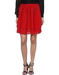 Besiva high waist layered red skirt