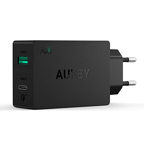 AUKEY-Quick-Charge-30-Type-C-Cargador-USB-Dual-Port-para-Ssmung-Galaxy-Note-7-LG-G5-HTC-10-Nexus-6P-Oneplus-Incluido-un-Cable-USB-C-de-1m-Negro