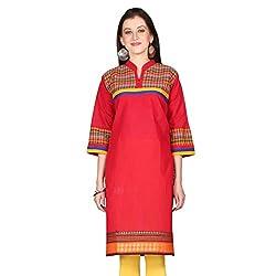 Janasya women's Red Solid kurtis