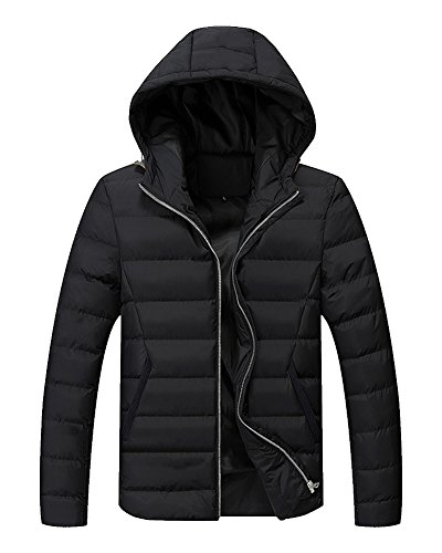 LaoZan Uomo cappotto con cappuccio Giacche invernali Giacca da Manica Lunga M Nero